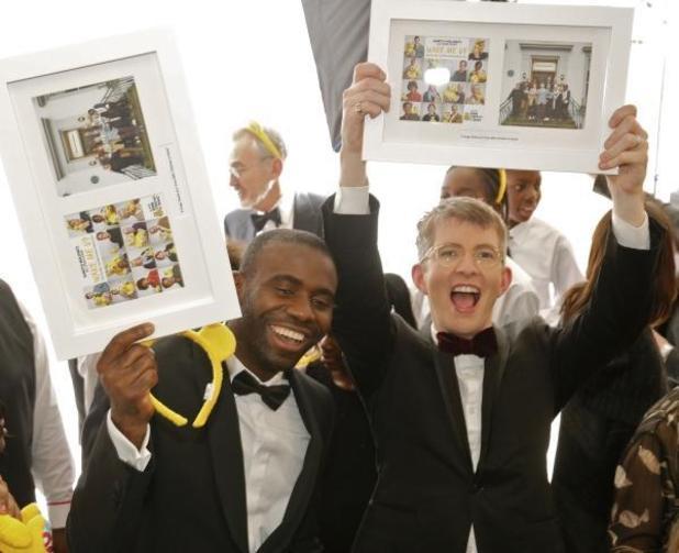 Gareth Malone and Fabrice Muamba celebrate No 1 for Children in Need - 17 Nov 2014