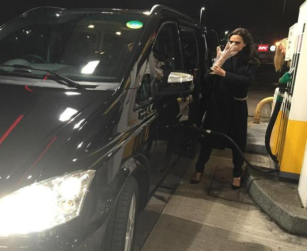Victoria Beckham at the petrol station after leaving Manchester - 19 November.