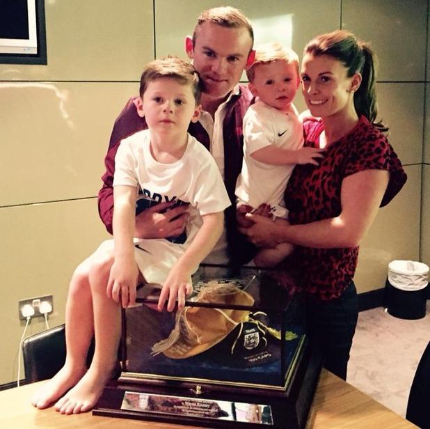 Coleen, Kai and Klay Rooney celebrate Wayne Rooney's 100th England cap - 17 November 2014
