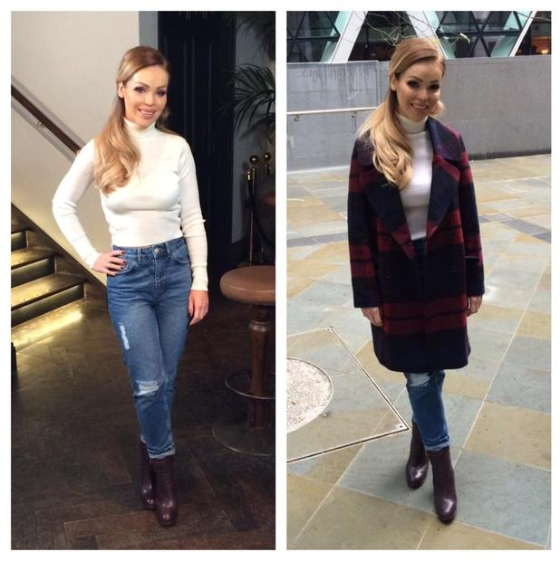 Katie Piper looks super stylish during filming for Bodyshockers, 22 November 2014