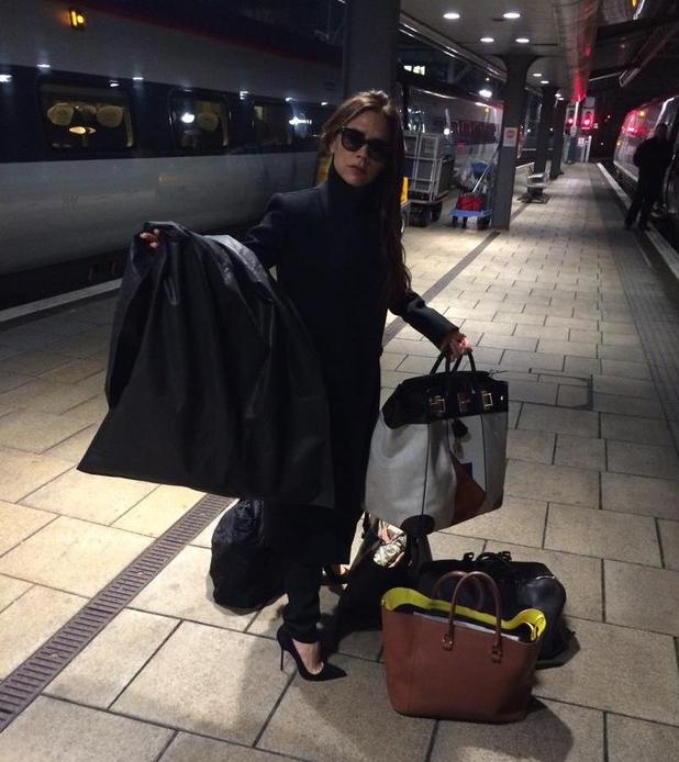 Victoria Beckham at the train station en route to Manchester - 19 November.