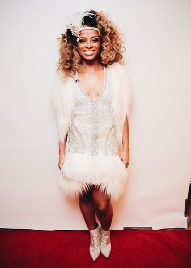 Fleur East poses before performing on The X Factor - 15 November 2014