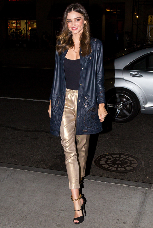 Miranda Kerr wears gold trousers while out in Union Square, New York - 20 November 2014