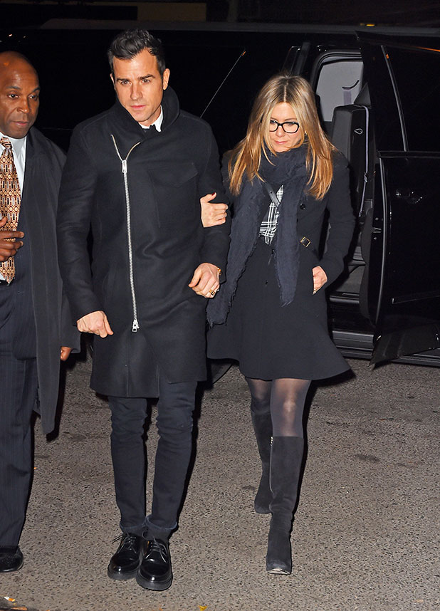 Justin Theroux and Jennifer Aniston sighting on November 16, 2014 in New York City.