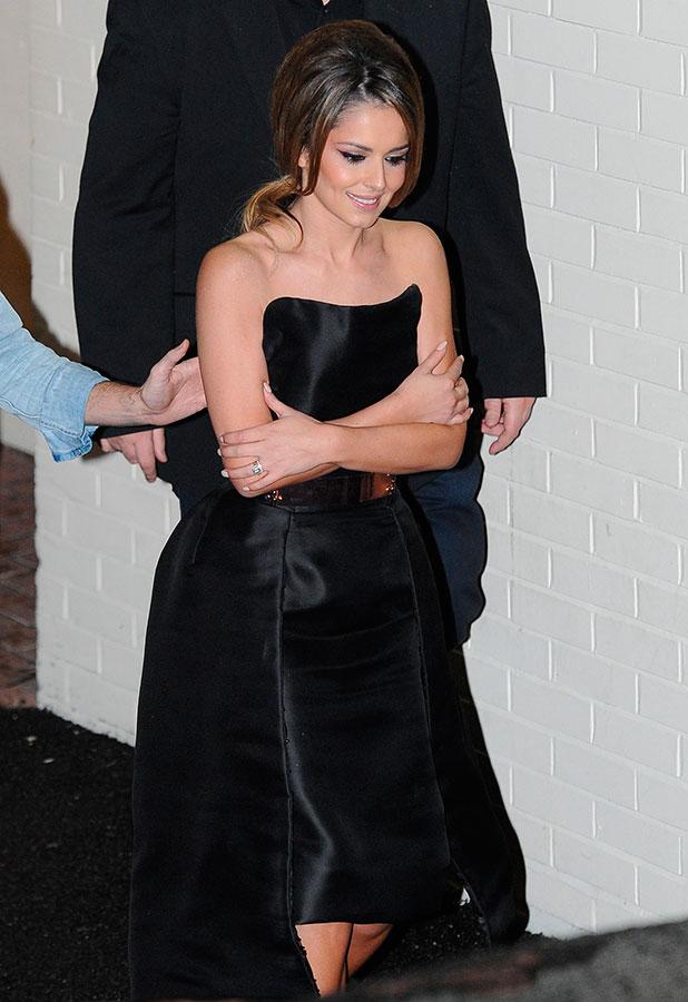 Cheryl Fernandez-Versini leaves Fountain studios after the week 7 live result show, 16 November 2014
