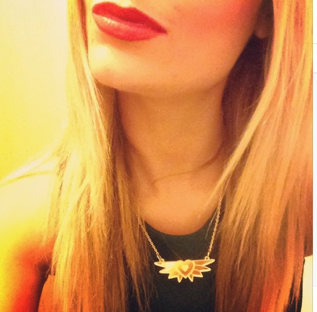 Laura Whitmore showing off her new necklace on Instagram, 18/11/14