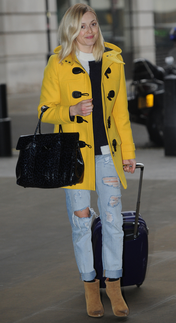 Fearne Cotton wears a bright yellow coat while heading to the Radio 1 studios in London - 26 November 2014