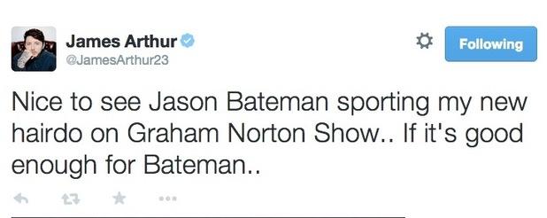 James Arthur tweets that his hairdo is similar to Jason Bateman's, 24 November 2014