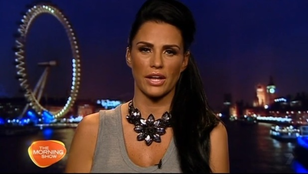 Katie Price appears on The Morning Show in Australia live from London, 26 November 2014