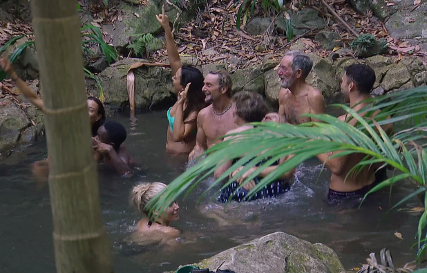 I'm A Celebrity... Get Me Out Of Here! - Jake Quickenden and Nadia Forde -23/11/2014. The CIA agents are given one last mission they must get all camp mates into the creek together if they succeed they will all receive a care package from home.