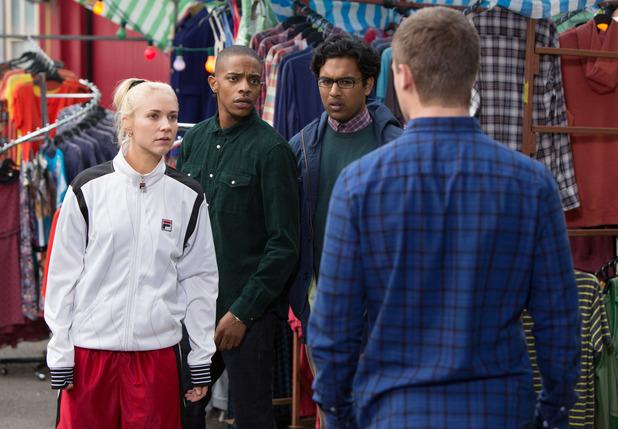 EastEnders - Nancy Carter, Dexter Hartman, Tamwar Masood, Lee Carter - everyone is shocked at Lee's behaviour. 18/11/2014.