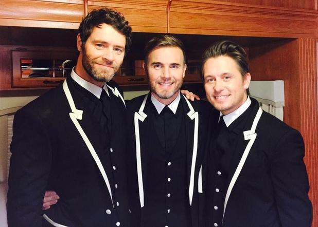 Take That's Gary Barlow, Mark Owen and Howard Donald as a trio - 23 November 2014.