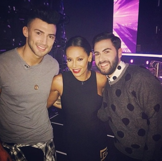X Factor 2014 contestants Jake and Andrea with mentor Mel B - October 2014.