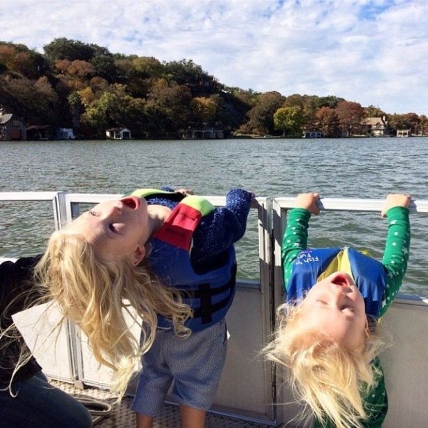 Jessica Simpson shares picture of Maxwell and Ace celebrating Thanksgiving at Lake Austin in Texas, 26 November 2014