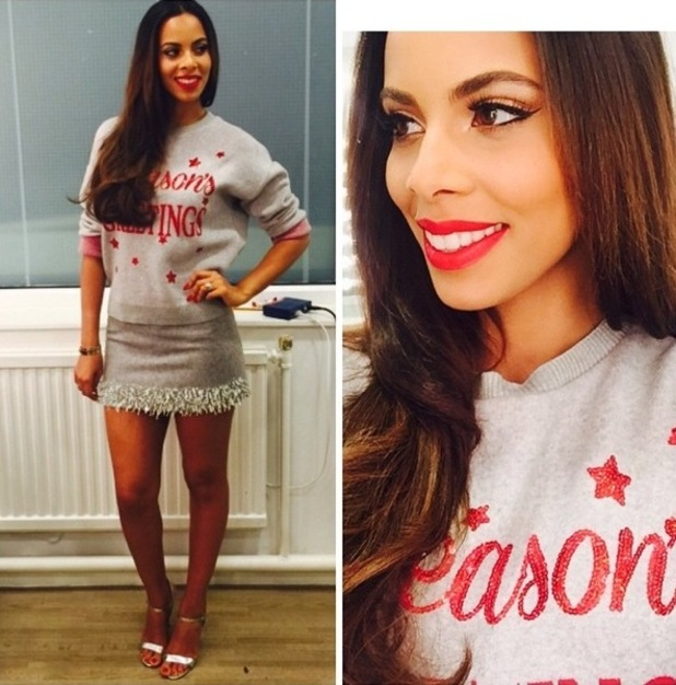 Rochelle Humes poses in a festive jumper before filming Sweat The Small Stuff - 27 November 2014