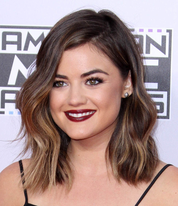 Pretty Little Liars star Lucy Hale shows off her shoulder-length bob haircut at the American Music Awards in Los Angeles - 23 November 2014