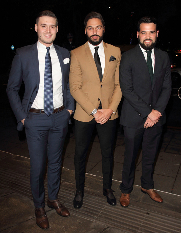 TOWIE boys at the Daily Mirror and RSPCA Animal Hero Awards at The Grosvenor House Hotel in London - Arrivals - 26 November.