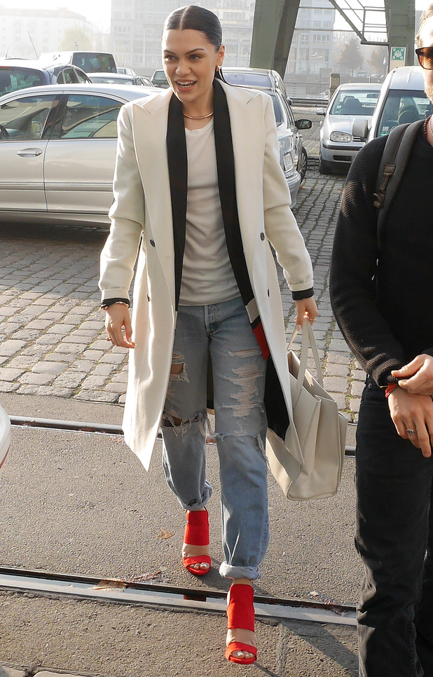 Jessie J wears ripped boyfriend jeans while out in Berlin, Germany - 27 November 2014