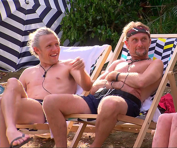 Jimmy Bullard and Foggy during the pool party treat on I'm A Celebrity 2014