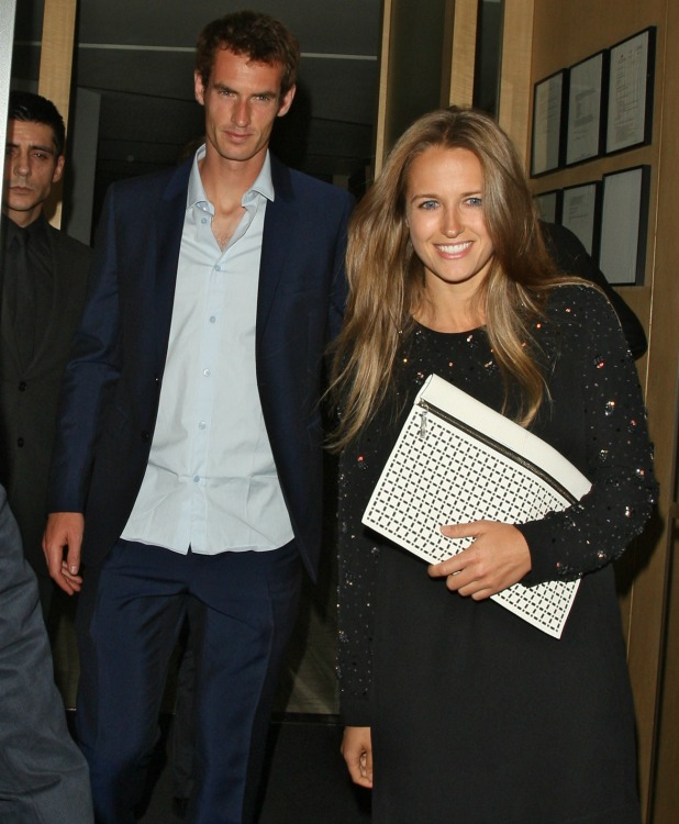 Kim Sears and Andy Murray leaving Nobu London, 8 July 2013