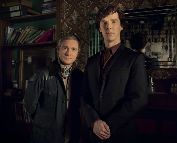 Dr John Watson (MARTIN FREEMAN), Sherlock Holmes (BENEDICT CUMBERBATCH) in Sherlock, 2014