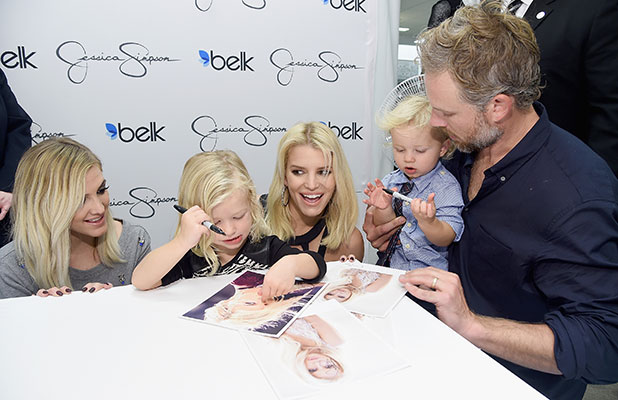 Jessica Simpson, Eric Johnson, Ace Johnson and Maxwell Drew Johnson at Belk Galleria Dallas on November 22, 2014 in Dallas, Texas.