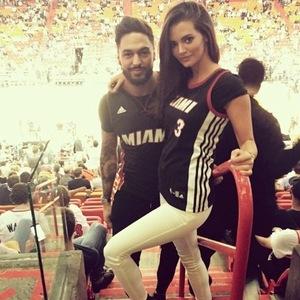 Mario Falcone and Emma Jane McVey at Miami Heat basketball game, Miami 21 November