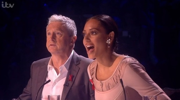 Louis Walsh and Mel B on the judging panel  - X Factor - 30 November 2014.