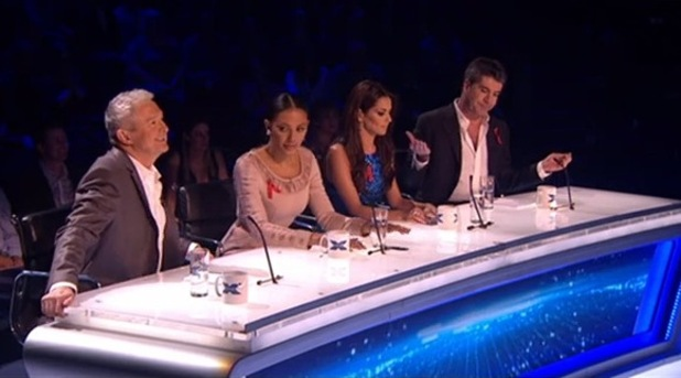 Louis Walsh, Mel B, Cheryl Fernandez-Versini and Simon Cowell on the judging panel  - X Factor - 30 November 2014.
