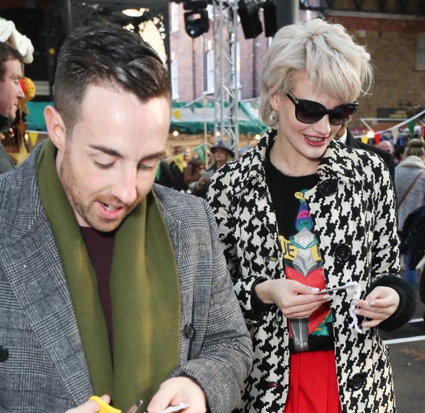 LittleBigPlanet handmade Christmas Tree launch, Spitalfields Market, London, Britain - 30 Nov 2014 Stevi Ritchie and Chloe Jasmine