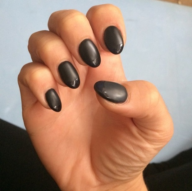 Little Mix's Jesy Nelson shows off her black matte and glossy French manicure - 2 December 2014