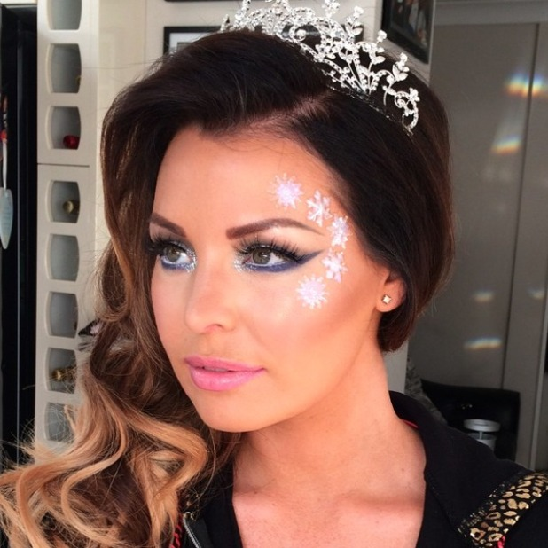 Jessica Wright does Snow Queen make-up for filming The Only Way is Essexmas Christmas special, 30 November 2014