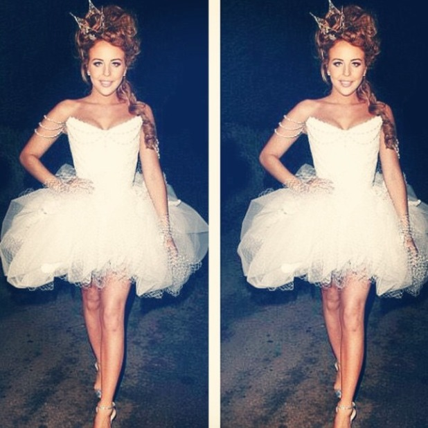 Lydia Bright's outfit, hair and makeup for The Only Way is Essex's, christmas special, 30 November 2014