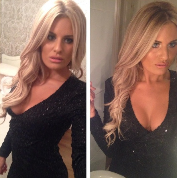 Danielle Armstrong shows off her new hair extensions before attending the UK Lingerie Awards in London - 3 December 2014