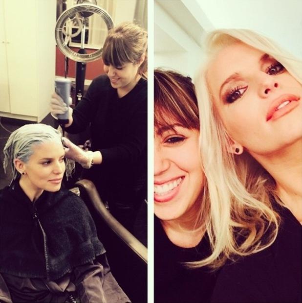 Jessica Simpson unveils new bleach blonde hair colour - 1 December 2014