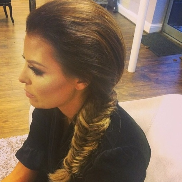 TOWIE's Jess Wright shows off a voluminous fishtail braid hairstyle - 3 December 2014