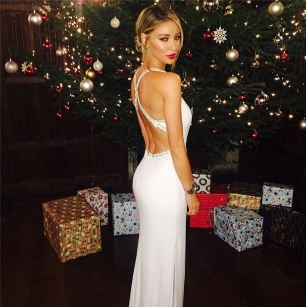 Lauren Pope wears a white gown while filming scenes for The Only Way Is Essexmas - 30 November 2014