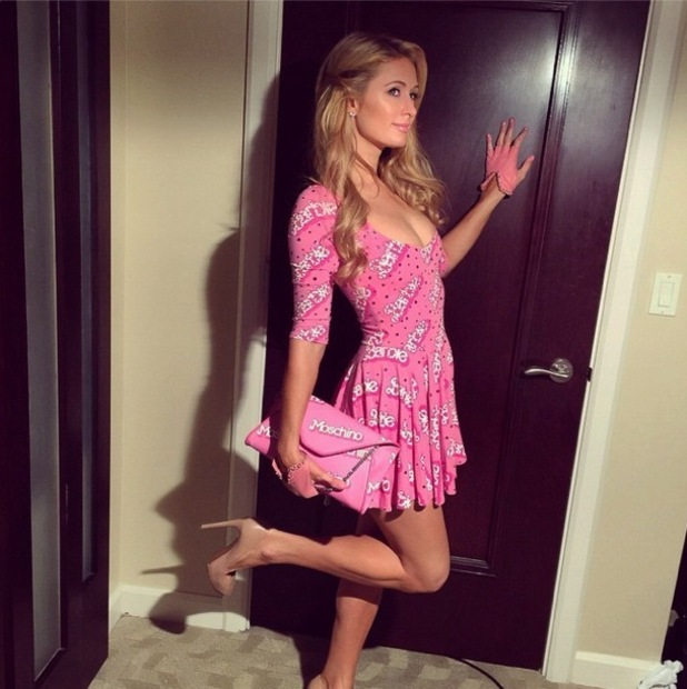 Paris Hilton wears a Barbie-inspired outfit by Moschino while in Miami, America - 4 December 2014
