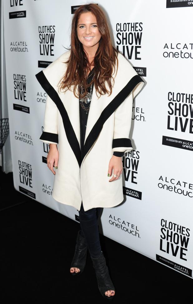 Alexandra Felstead aka Binky rocks super sized black and white coat at Clothes Show Live, 7 December 2014