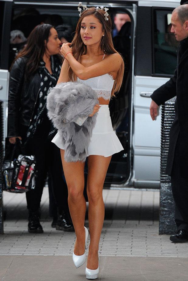 Ariana Grande arriving at the BBC Radio 1 studios, 1 December 2014