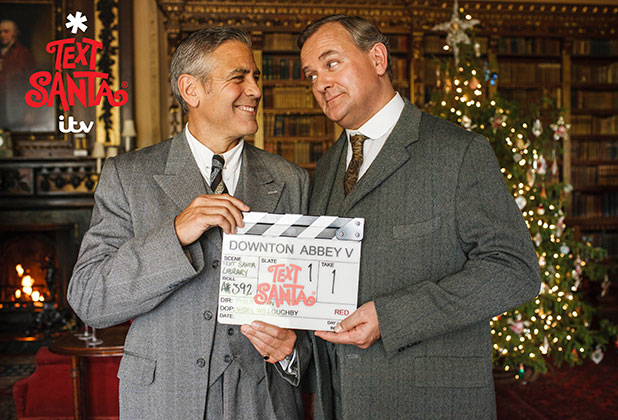 George Clooney and Hugh Bonneville in ITV Text Santa: Downton special sketch, airing December 2014