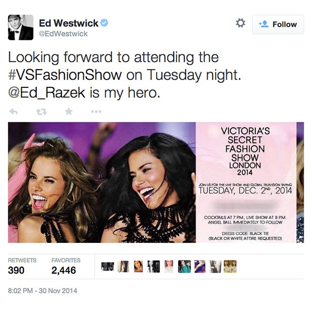 Ed Westwick thanks Victoria's Secret Fashion Show exec producer for getting him tickets, 1 December 2014