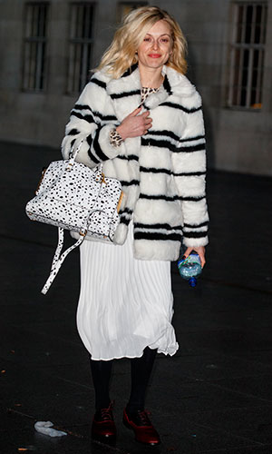 Fearne Cotton arriving at BBC Radio 1 on 4 December, 2014