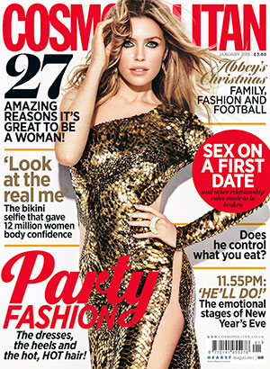 Abbey Clancy is cover star of Cosmopolitan January 2015, on sale 4 December.