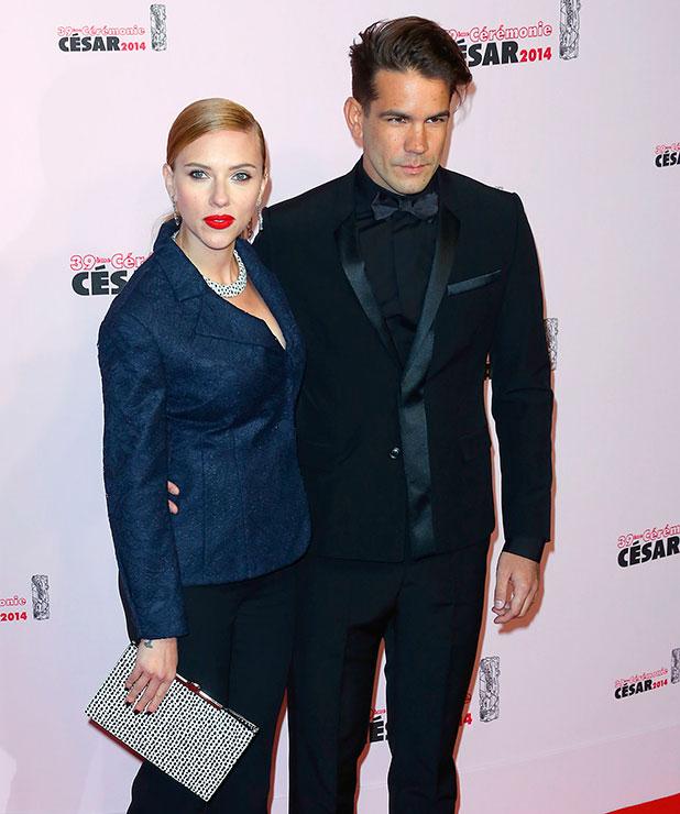 Scarlett Johansson and Romain Dauriac, 39th Cesar Film Awards - Arrivals. 2014