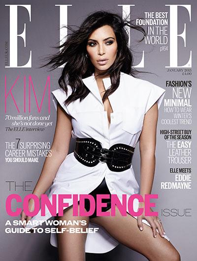 Kim Kardashian is cover star for ELLE UK's January confidence issue, on sale 4 December 2014