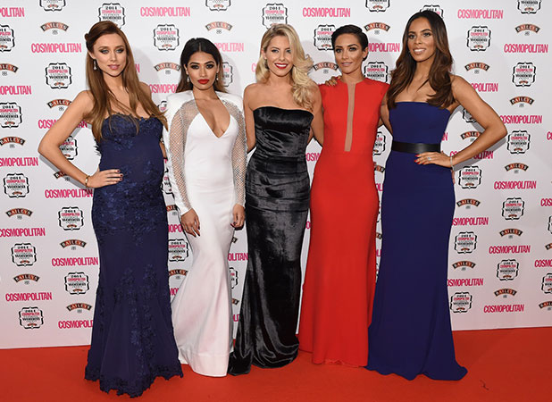 The Saturdays arrive at the Cosmopolitan Ultimate Women Awards, London, 3 December 2014