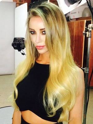 Lauren Pope shows off super-long, straight hair, wearing Hair Rehab extensions, 1 December 2014