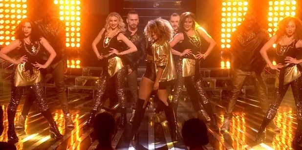 Fleur East performs Uptown Funk on X Factor performance, ITV 6 December