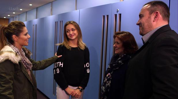 Lauren Platt backstage with her parents and Cheryl on 'The X Factor. 1 December 2014.